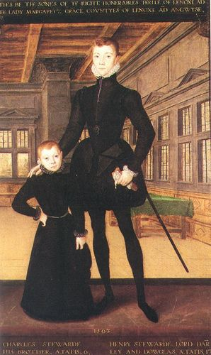 Henry Stuart, Lord Darnley, 2nd husband of Mary, Queen of Scots, and his brother Charles Stuart, Earl of Lennox, father of Arbella Stuart