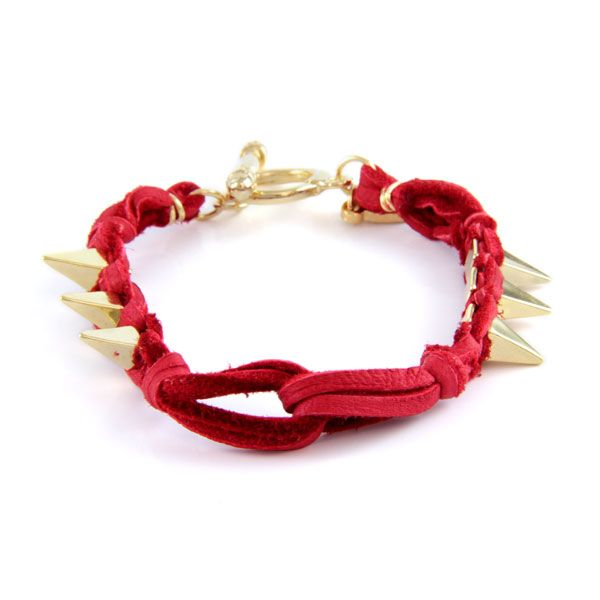 Red Leather Bracelet with Spikes and toggle closure