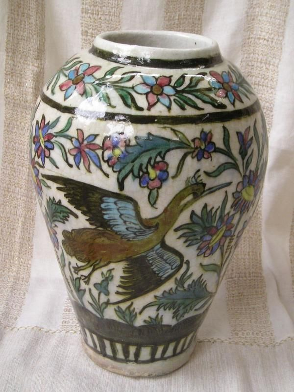 Islamic Qajar Polychrome Persian Ceramic Vase Phoenix Iranian Art Pinterest Ceramic Vase