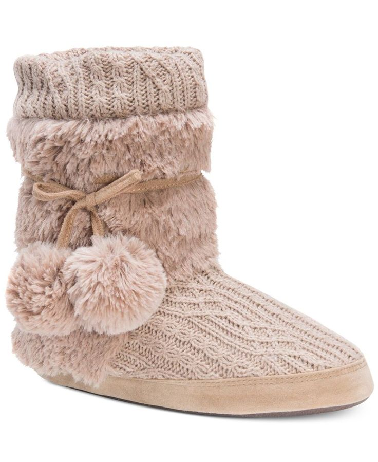 A taller boot shaft provides so much warmth on this stylish pair of at-home slippers from Muk Luks.   Acrylic & polyester faux fur upper; lining: polyester faux fur; insole: polyester fleece; sidewall