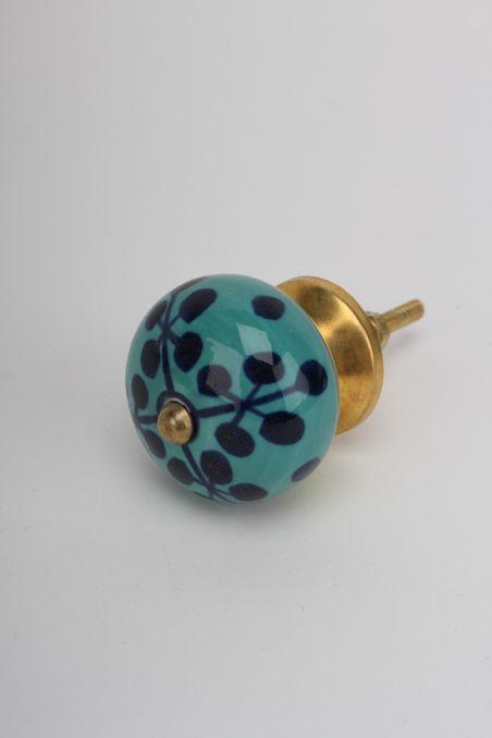 Hooks, Doorstops & Knobs : Blue Flower Ceramic Knob