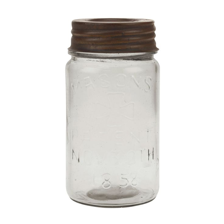 Stonebriar Collection Small Mason Jar with Rust Lid - SB-5842A