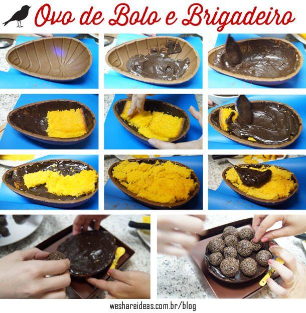 receita de ovo de páscoa recheado de bolo de cenoura e brigadeiro. Mais no blog!