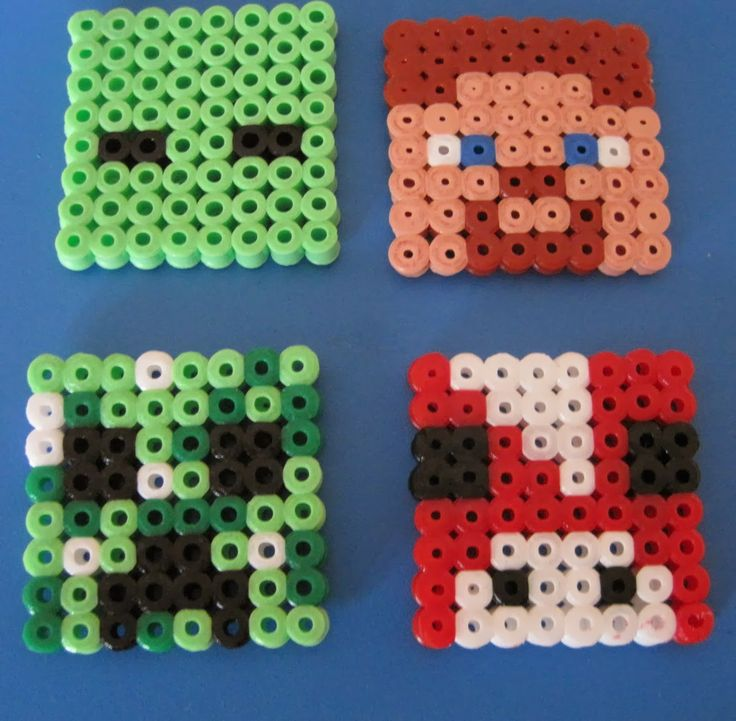 Made Out Of Things: Minecraft Mad.  Zombie, Mooshroom, Creeper and Steve in hama beads