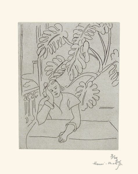 Henri Matisse's 1935 print Interior with Leaves depicts a philodendron that he grew in his studio. He felt the plant helped him better understand line, form and weight in compositions. (© 2015 Succession H. Matisse / Artists Rights Society, courtesy of Marlborough Gallery). Top: On a gallery wall of the exhibition is White Petal Forest Diamond (Philodendron), a 2015 digital wallpaper by Carl Pascuzzi and Phoebe St. Germain Fellowes for EDGE Collections. Courtesy of Wolfsonian-FIU: