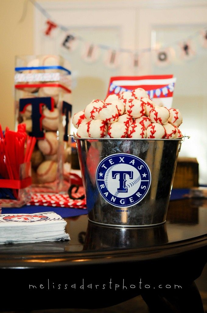 Texas Ranger Themed Party - baseball cake balls :)) But let's be honest-it would be an Angels themed party!