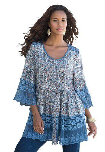 Roamans Women's Plus Size Illusion Lace Bigshirt Denim 24/7 (Blue Print,18 W) Roamans http://www.amazon.com/dp/B00IEBNJ4G/ref=cm_sw_r_pi_dp_Aac-tb1R027GN