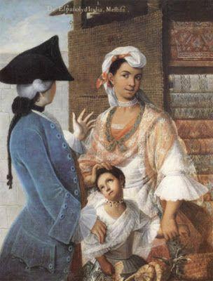 Spaniard and Indian woman, Mestiza. Miguel Cabrera. Mexico ...