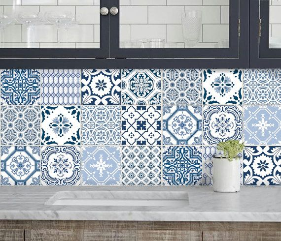 Kitchen bathroom Tile Decals Vinyl Sticker : Portugal Patchwork ...