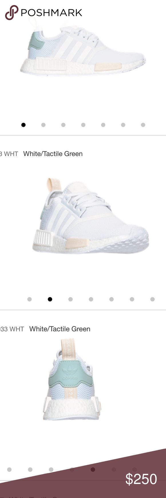 Adidas NMD white/tactile green Authentic Adidas NMD , Brand new , 2 size 7 in womens fits to 7.5 to 8 , 1 size 7.5 in womens  8 to 8.5 and 1 6.5 in womens fits to size 7 to 7.5 Adidas Shoes Athletic Shoes