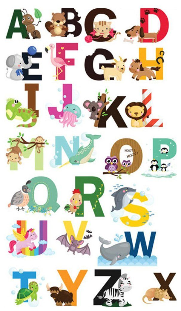 Nursery Educational Wall Decals Animal Alphabet Baby