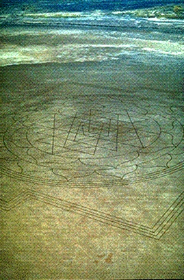 "A very large, perfectly formed, ancient Hindu mandala called the Sri Yantra was discovered inscribed into the dry lake bed by an Air National Guard pilot on a normal training run from a base near Boise, Idaho. This symbol was over a quarter of a mile in length, and consisted of over 13 miles of lines etched into the impacted mud 3""-10"" deep."