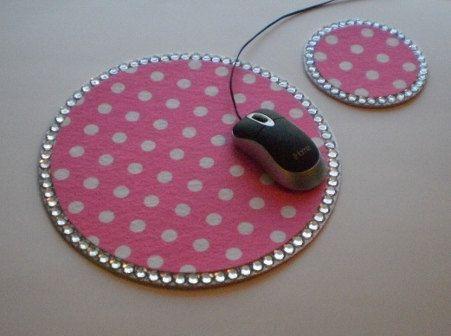 Pink Polka Dot U0026 Bling Mousepad/coaster Set   Other Colors/prints Available.