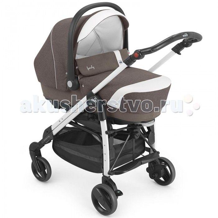 Коляска CAM Combi Family 3 в 1  Новая многофункциональная коляска, которая включает в себя:  люльку, которую можно перевозить в автомобиле, ремни безопасности, ручки для переноски и сумку;   автокресло ByeBye, предназначенное для детей в возрасте от 0 до 1 года (от 0 до 13 кг);  коляску Pretty с плавающими передними колесами, жестким набивным сиденьем, регулируемой в четырех положениях спинкой и в двух положениях подставкой для ножек, снабженной сеткой и тентом от солнца.  Особенности…