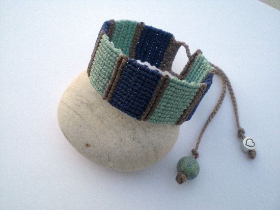 Macrame bracelet. Bracelet in blue. Bracelet macrame for by asmina, $25.00