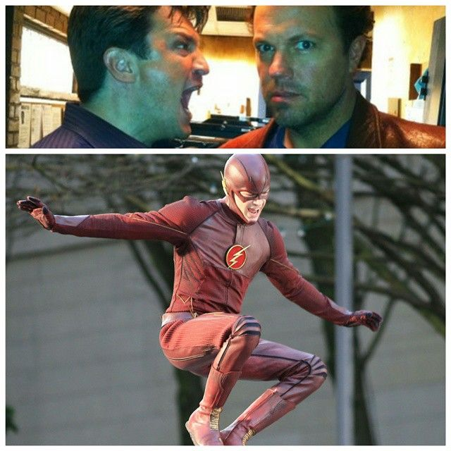 #The30DaysofChannelSurfing Day 22: Favorite Behind the Scenes Photo - A #Firefly reunion on #Castle & @Grantgust goofing off #TheFlash