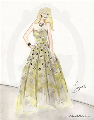 """The WC Collection"" by artist Janelle Nichol. Yellow & Grey dress #fashion illustrations #sketches"