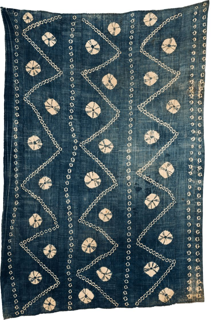 Africa | Tie-Dyed Indigo Bamana Woman's Wrapper. Mali | 20th century | Hand spun and woven cotton, Strip woven and tie dyed