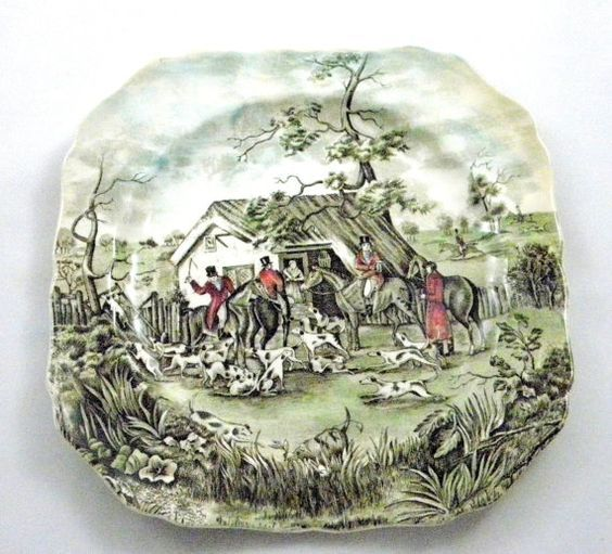 """""""Tally Ho"""", Johnson Brothers - china pattern - Equestrian Christmas plate"""