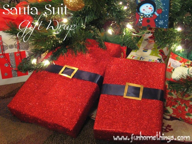 Santa Suit Gift Wrap - To wrap Santa gifts in! Love this idea!