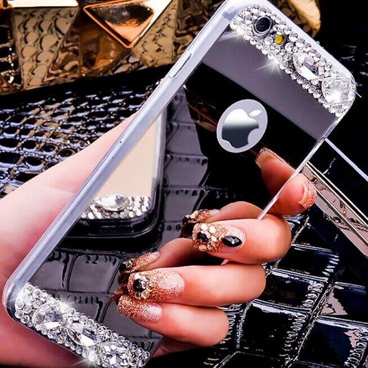 Iphone 5 5 s se için kisscase kılıfları lüks ayna glitter elmas tpu durumda iphone 5 5 s se için yumuşak silikon İnce ince geri kapak