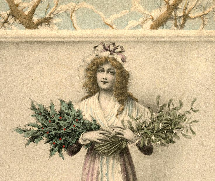Lady with Holly and Mistletoe Image