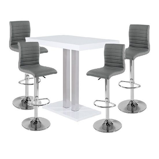Palzo Bar Table In White High Gloss With 4 Ripple Grey Stools