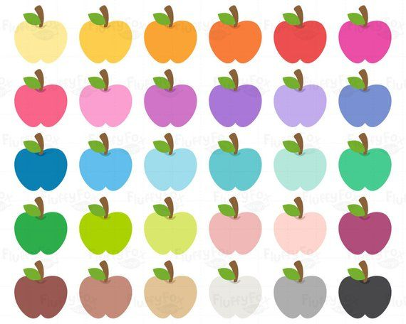 Apple Clipart Apples Clip Art Fruit Cartoon Food School Teacher Teaching Rainbow Cute Digital Graphic Png Download Commercial Use Apple Clip Art Clip Art Fruit Cartoon