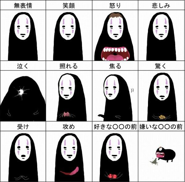 kaonashi aka noface line up ha fanart by alegria