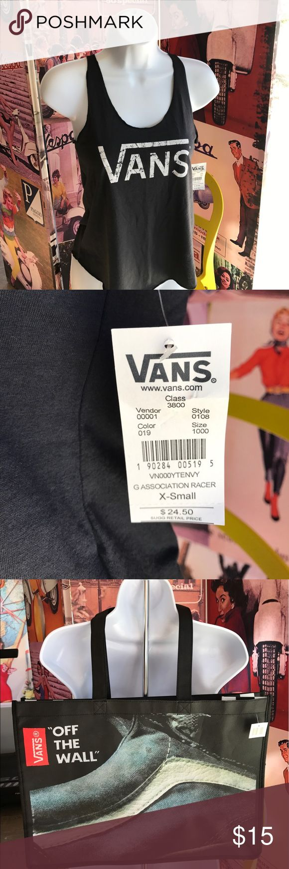 VANS Association 🏁 Racer Tank ✨NEW✨ with the 🏷 Comes with Reusable Vans Shopping Tote. Dark gray. Size XS. 100% Cotton.  ✨NEW✨ with the 🏷tags! (NWT) great deal especially with bag, so no offers please. You can BUNDLE this with one or more item(s) to take advantage of my 20% percent 💰DISCOUNT💰🎉! Vans Tops Tank Tops
