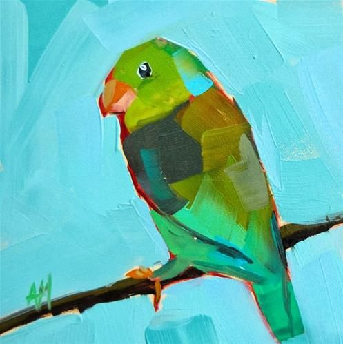 """Green Parrotlet Painting"" - Original Fine Art for Sale - © Angela Moulton"