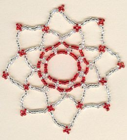 "Easy Netted Ornament from rubysbeadwork.com. A simple bead ""net"" to put over a basic glass ornament. When used with a matte ornament and tone-on-tone colors, these are gorgeous. (Awful picture of the finished product.)"