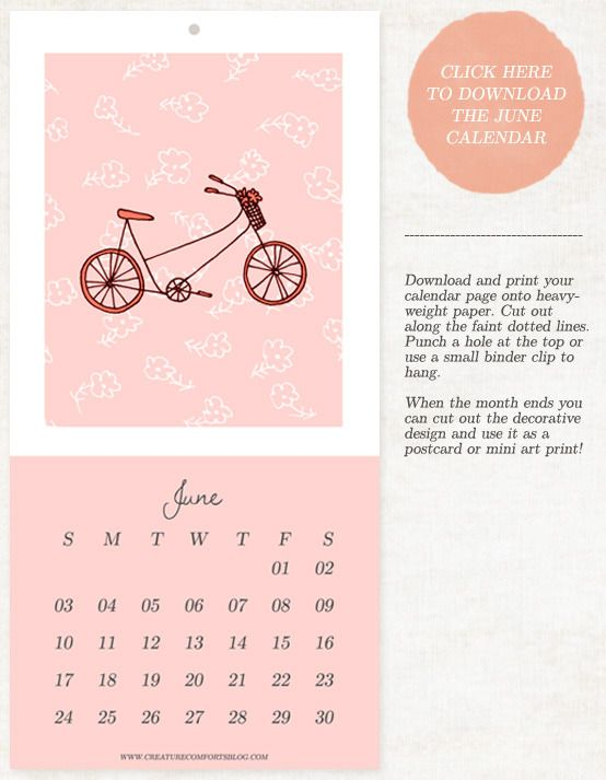 June 2012 Calendar Download - Home - Creature Comforts - daily inspiration, style, diy projects + freebies