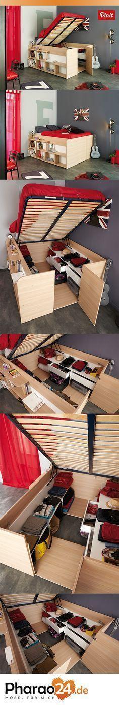 Funktionsbett Kasticia mit viel Stauraum. Perfekt geeignet für Studenten und alle die Platz sparen wollen. http://www.pharao24.de/funktionsbett-kasticia-mit-viel-stauraum.html/#pint