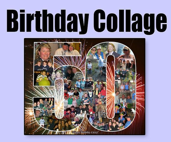 Gift for Wife's Birthday Personalized 50th Photo Collage