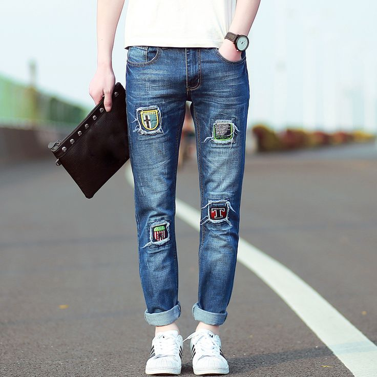 Ripped jeans for men printed jeans men skinny jeans Fashion patch designer denim trousers Famous Brand Casual 2015 New