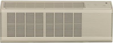 """""""Features & Benefits"""" GE AZ65H12DAB 42"""" Zoneline Series Air Conditioner with Heat Pump, Makeup Air, 12100 BTU Cooling Capacity, Sleep Mode, and Freeze Sentinel: Bisque"""