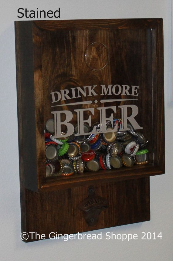 Drink more BEER/Bottle Cap Holder/Bottle Opener/Beer Decor/Bar Decor/Father's Day/Man Gift/Engraved
