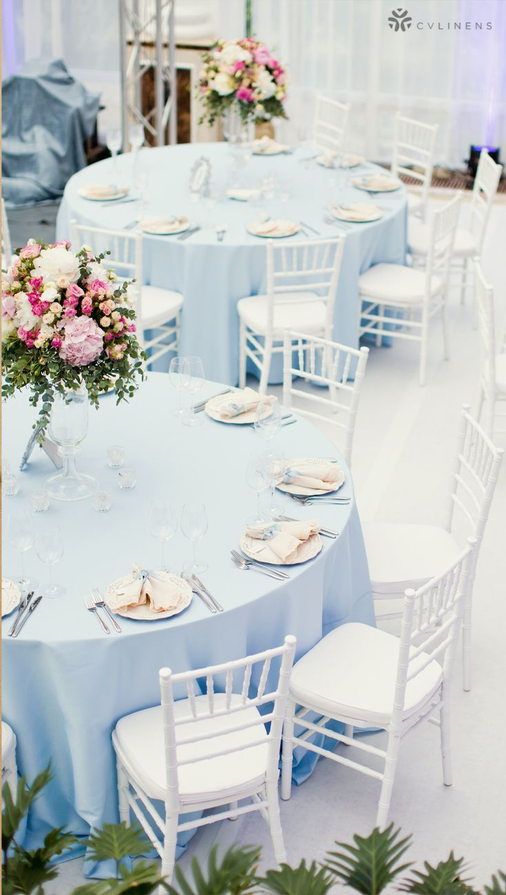 Baby Blue Color Themed Wedding Reception Tablescape With Flower Centerpiece Baby Blue Wed In 2020 Baby Blue Wedding Theme Baby Blue Weddings Blue Wedding Decorations