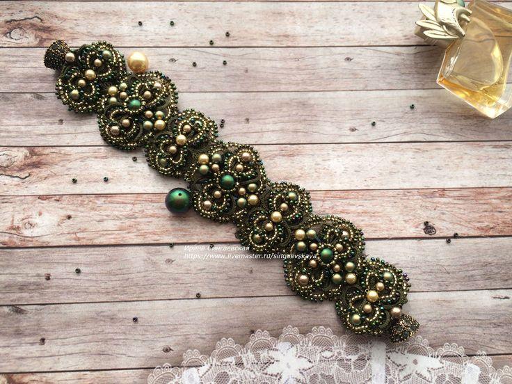 Купить Кружевной браслет фриволите - тёмно-зелёный, Браслет ручной работы, красивый подарок