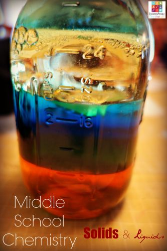 "FREE Printable Middle School Chemistry: Solids and Liquids @Education Possible Is there a way to ""see"" the density of liquids? You bet! It all depends on density. Complete this experiment to test it for yourself. With the FREE download, it's a great middle school chemistry learning activity."