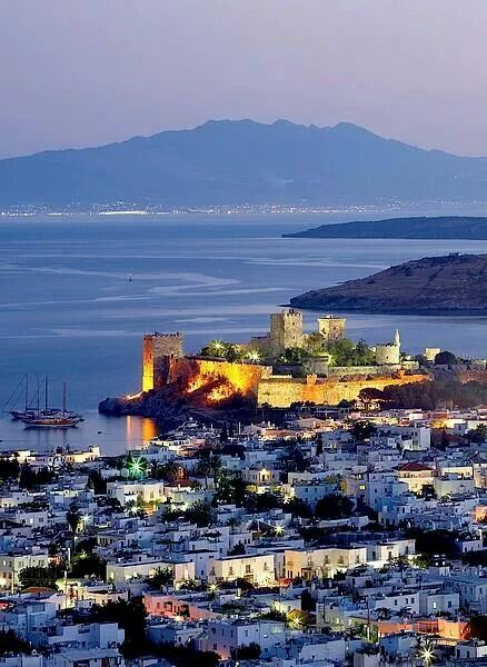 Bodrum & Bodrum Castle by night, Turkey.