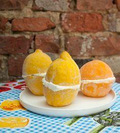 Recept voor bevroren citrusvruchten (citroen, appelsien) met mascarpone.