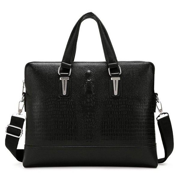 Embossing Dark Colour Metal Briefcase ❤ liked on Polyvore featuring bags and briefcases