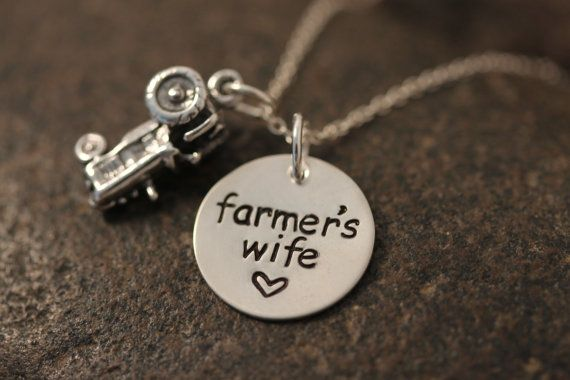Custom Hand Stamped Farmer's Wife Necklace by SayWhatCreations, $46.50... who knew Etsy had the this cute farming stuff!