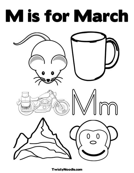 m is for march coloring page from twistynoodlecom
