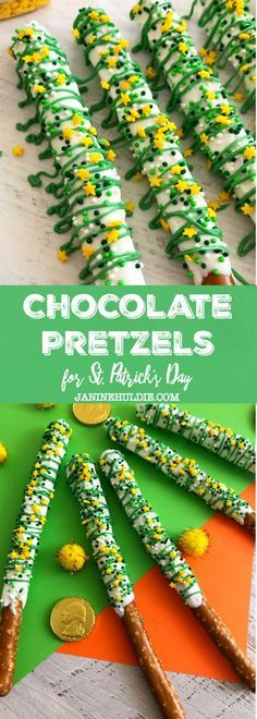 Festive St. Patrick's Day White and Green Chocolate Covered Pretzels Recipe - a party treat and dessert idea perfect for the holiday