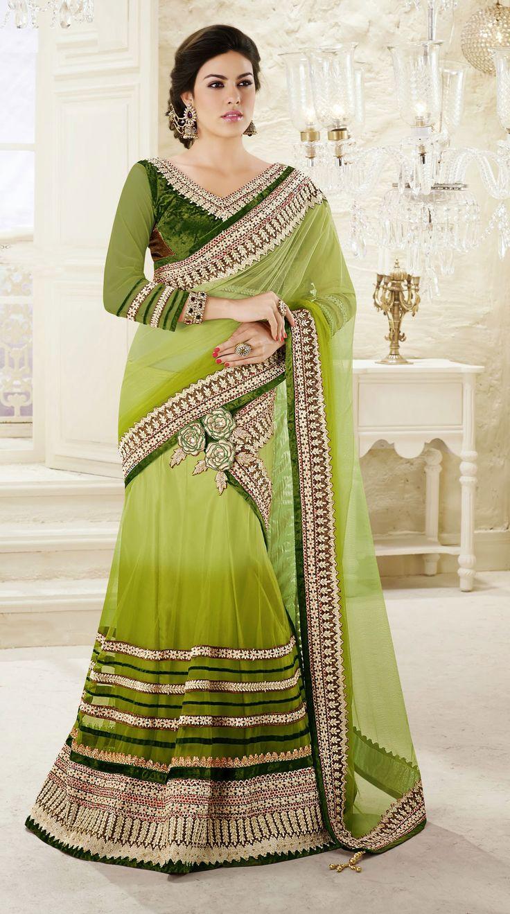 USD 126.23 Shaded Green Net Border Work Party Wear Lehenga Saree 42470