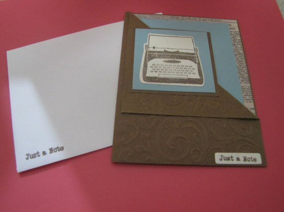 Just A Note Hand Made Greeting Card with by jennrainescreations