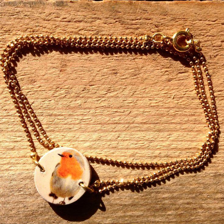 Armband Rotkehlchen / Foto auf Holz
